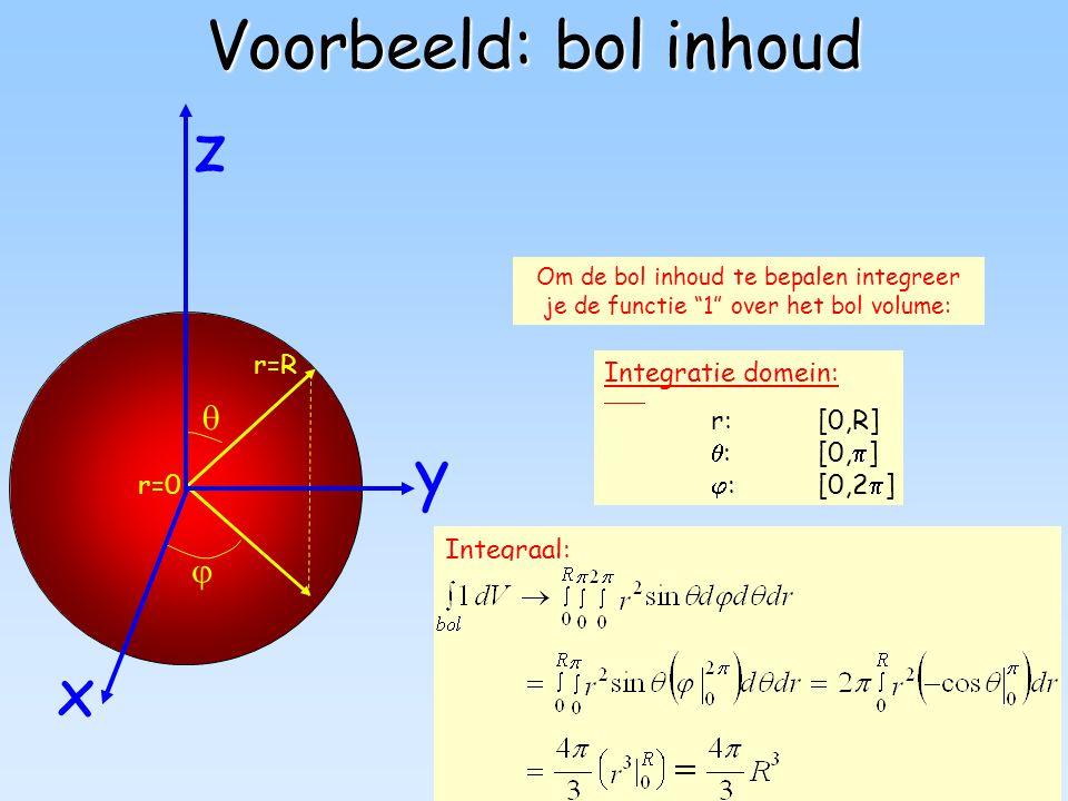 Voorbeeld: bol inhoud z y x   r=R Integratie domein: r: [0,R]